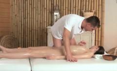 Classy massage model receives a creampie