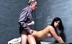 Old lawyer fucks a young brunette with stunning body in jail