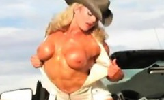 Bodybuilding Cowgirl Posing Outdoors