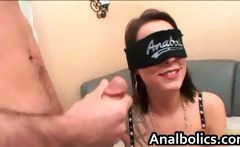 Blindfolded skanky bitch gets ready