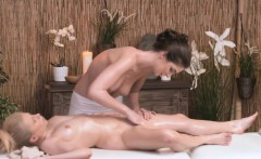 Classy masseuse grinding pussy on client