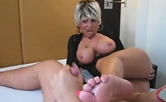 old babe with big tits wants cum on her feet