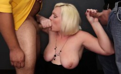 BBW Big Tit Amateur Sucks Off 6 Guys and Takes All the Cum