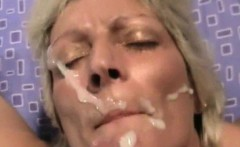 Blonde cougar loves taking facial cumshots