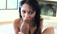 Sassy brunette blowing a giant black dick