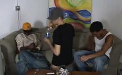Latino anal raided by two big black dick