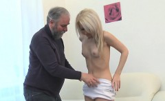 Youthful chick gets brave to engulf old cock of a nasty guy