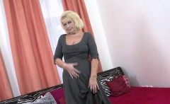 Busty blonde mature riding a cock in black lingerie