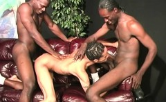Twink latino guy gets gangbanged by hung black men