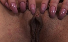 Innocent girl is gaping narrow cunt in close up and cumming
