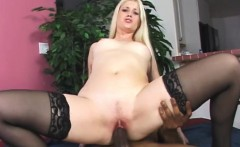 Beautiful young blonde finds pleasure and comfort in a big black cock
