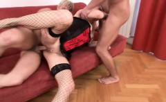 Striking blonde in hot lingerie enjoys her time with two bisexual guys
