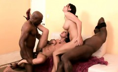 alluring brunettes enjoy an explosion of wild sex with two black guys