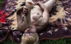 Seductive Blonde Granny Plays With Her Sweet Beaver Outdoors