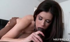 Sexy mom sucking a huge black shaft