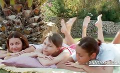 Lesbo teens stripping outdoors