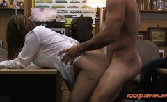 Foxy business lady with big tits pounded by pawn guy