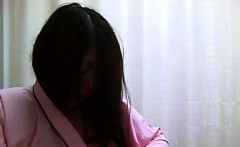 long haired asian tart gets filmed while changing her tight