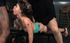 BDSM sub deepthroats black cock