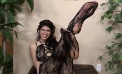Delicious slut licks her own feet