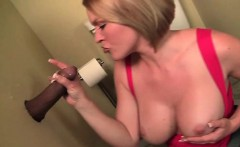 Dirty cock tugging and sucking on gloryhole
