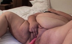Mature BBW gets pussy toy fucked from behind