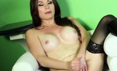 Sensual tgirl strokes her cock for pleasure