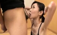 Asian chick is on her knees sucking off dude after dude and