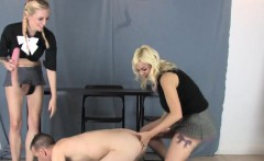 Teens pound fellas butthole with huge strap-ons and splash l