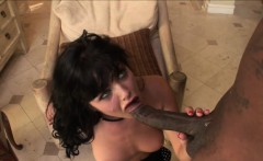 Wild-eyed brunette goes in a lust frenzy over a huge black