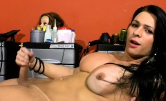 Black hair TS beauty massages beautiful tits and jerks off