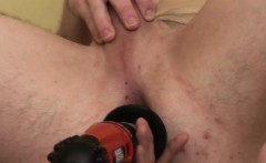 Horny trio of maintenance men fuck by an automated dildo