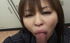 Precious Asian slut is sucking off a fat dick in pov