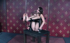 Gagged slave spanked while pussy punished