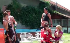 Outdoor orgy with multiple blowjobs