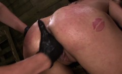 Restrained les strapon pounded hard in trio