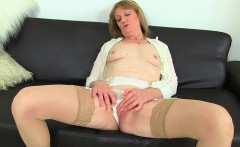 British milfs Molly and Clare in stockings with suspenders