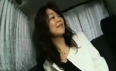 Enticing Japanese lady flashes her lovely boobs and sucks a