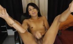 Asian Tranny Jerking her Hard Cock