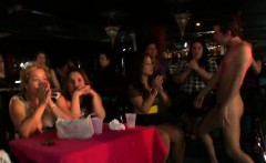 Babes are sucking stripper's dick wildly