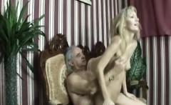 elegant blonde chick fucked hard by horny crippled man