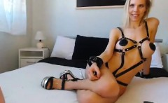 Her openings are fucked by blonde vixen in straps dildo