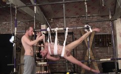 Naughty dungeon master prefers to torture his slave outside