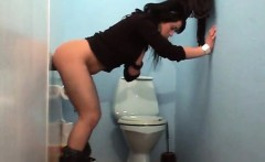 Jacket woman swallows and sucks a penis in the gloryhole