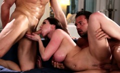 Glamcore busty milf railed hard in threesome