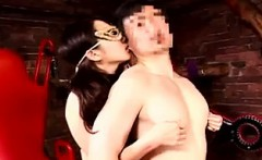 Masked Japanese lady in sexy black lingerie works her hands