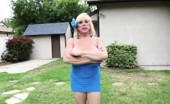 Gorgeous lingerie milf tugging hard cock