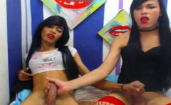 Two Naughty Tranny Babe play Each Other Cock