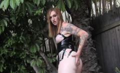 Tattooed Tranny Masturbating Outdoors