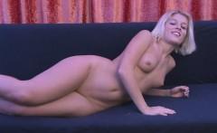 blonde angel in high heels displays her body